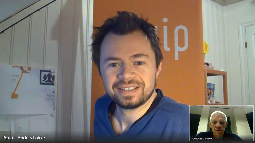 Teknologitraversering: Vi snakket med markedssjef i Pexip, Anders Løkke, på videokonferanse i et virtuelt Pexip-møterom. Vi benyttet en PC med Microsoft Lync, han brukte en gammel videokonferanseterminal fra Tandberg.