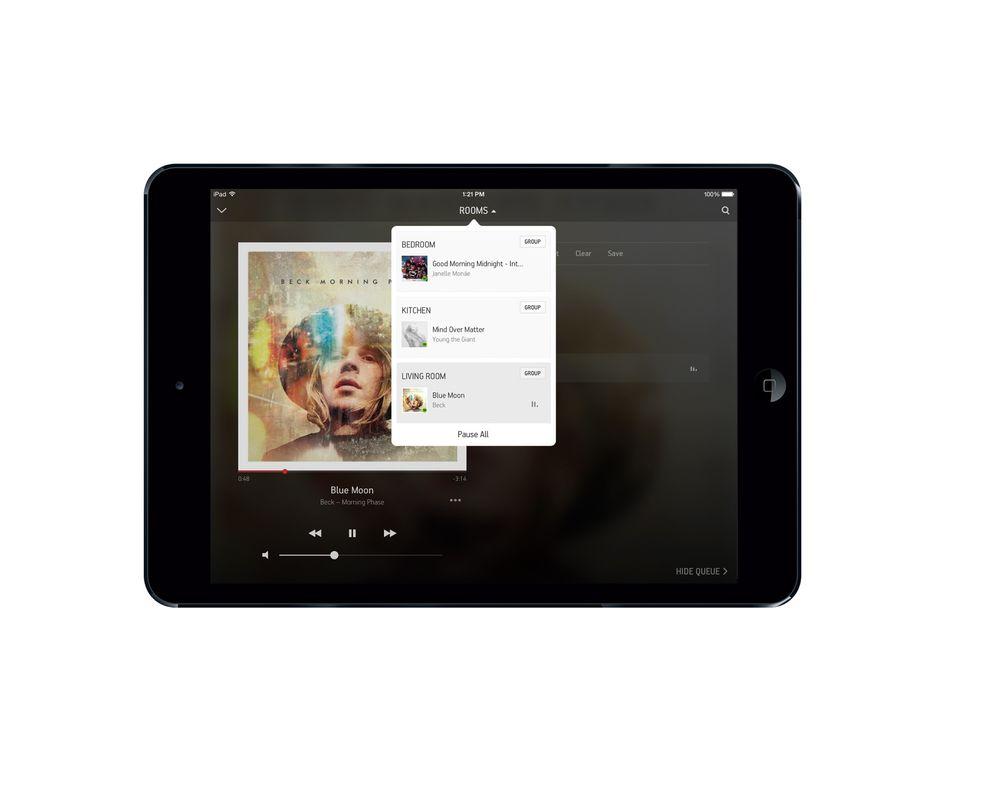 Vinduer: Sonos nye 5,3-versjon av appen har fått bedre styring av innholdet og den viser nå hva som spilles mens man søker i nytt innhold.