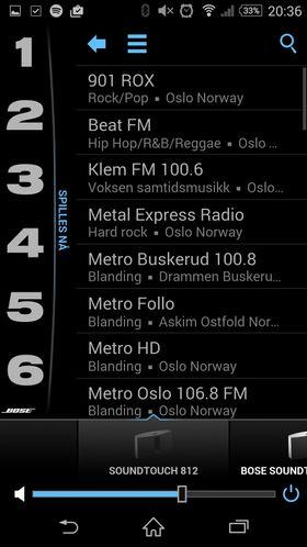 Radio: Bose skal ha mye ros for hvordan de har sortert all verdens internett radiokanaler. Velger du lokale får du opp norske. Herfra kan de legges inn på de seks forhåndsinnstilte knappene som kan velges fra appen, fra høyttaleren eller fra fjernkontrollen