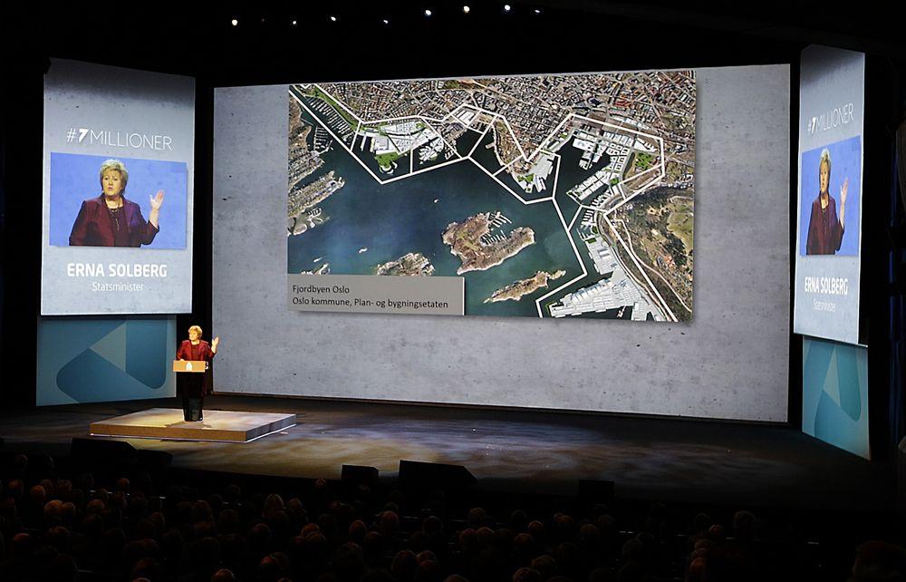 Talte: Statsminister Erna Solberg var en av talerne under torsdagens årskonferanse for NHO.