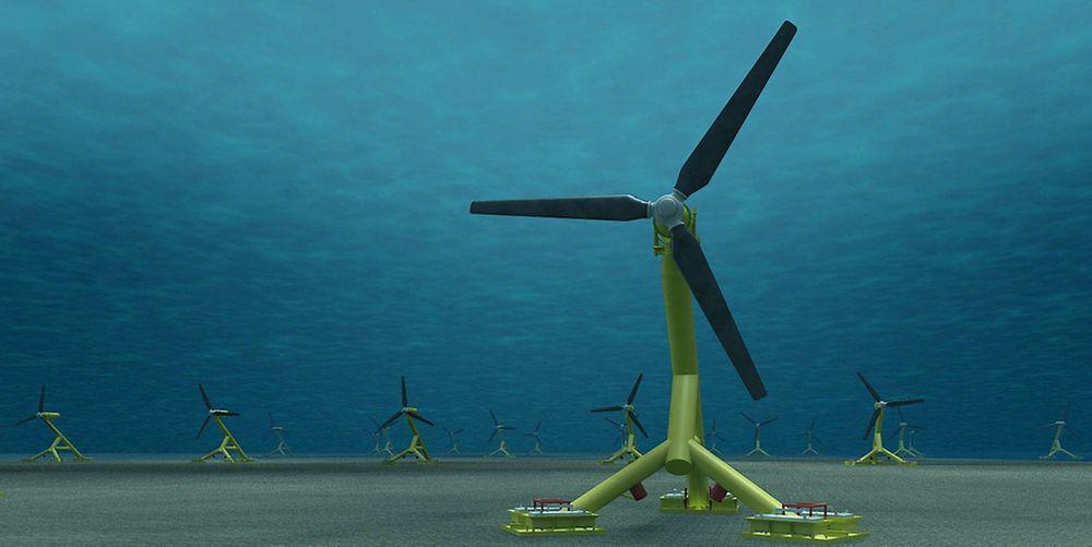Vindmøller under vann:  Slik kan en tidevannspark med Andritz Hydro Hammerfests fullskalaturbin HS1000 se ut under vann. I Meygen vil en større, modifisert turbinvariant (1,5 MW) bli brukt.