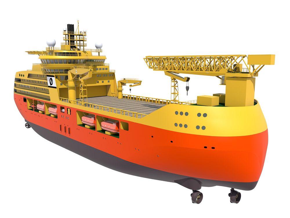 I tillegg til å være bolig for 800 offshorearbeidere, skulle Edda Fortis kunne støtte konstruksjonsarbeider med sin 120-tonnskran. Gangbroen sees sammenfoldet foran på fartøyet. Nå har Østensjø kansellert kontrakten.