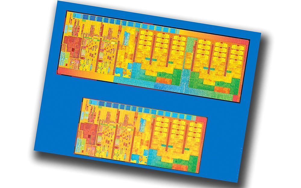 Krympet: Intels nye Broadwell-generasjon prosessorer har langt flere transistorer enn dagens Haswell. Likevel blir prosessorene mye mindre og stømforbruket følger etter.