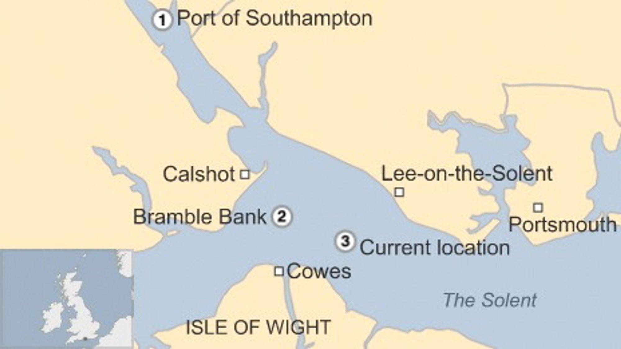Kart som viserhvor Höegh Osaka startet sin tur 3. januar (1) og Bramble Bank der kapteinen bevisst grunnstøtte skipet (2) og Alpha Anchorage (3) der skipet ble tauet for ikke å forstyrre skipstrafikken til Southampton.