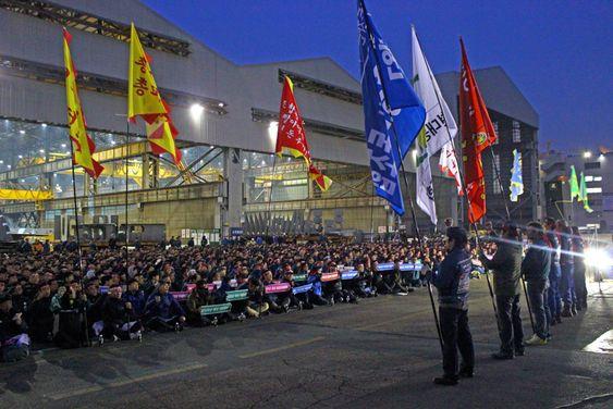 Her streiker arbeiderne ved Hyundai-verftet i Ulsan for høyere grunnlønn i november. Samme dag besøkte en delegasjon nordiske fagforbund verftet.