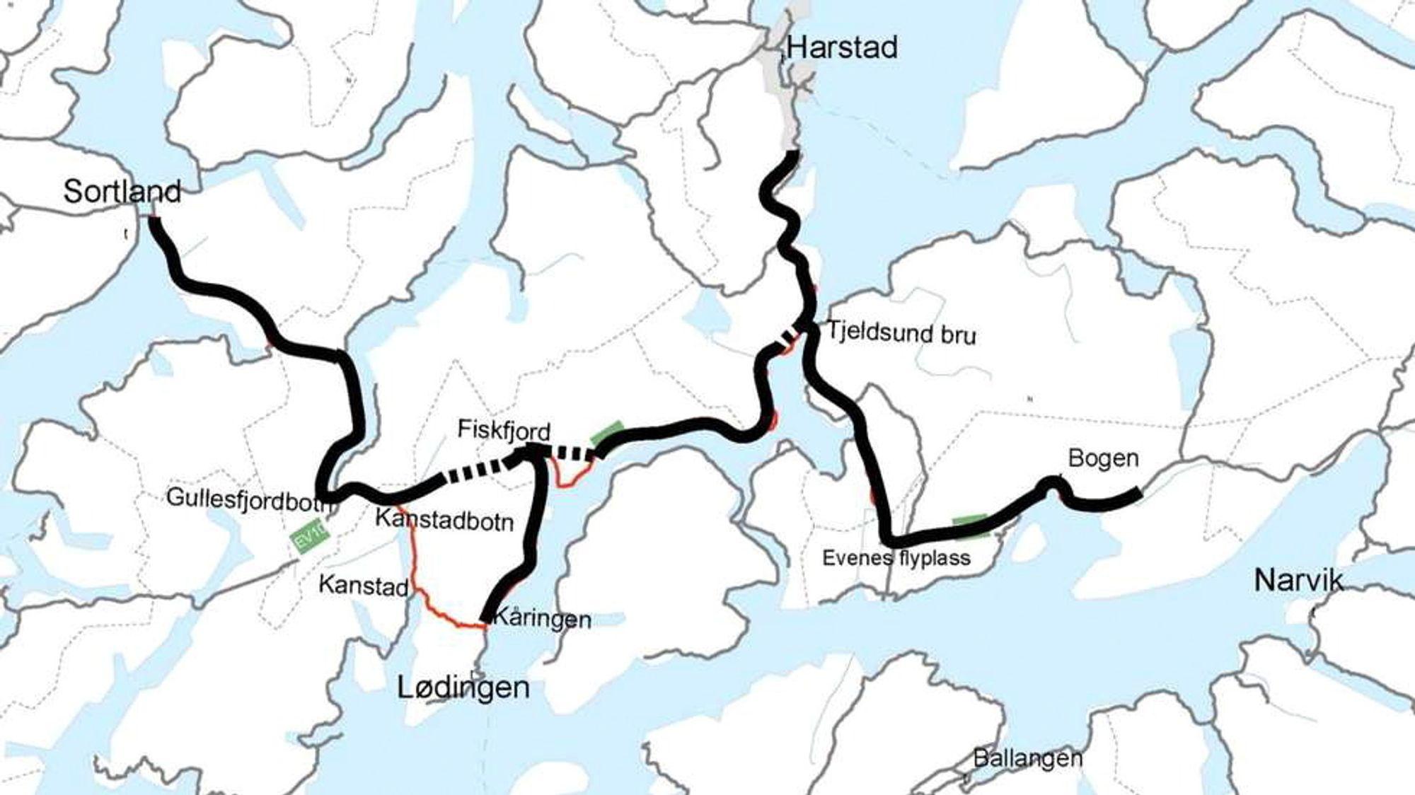 Slik ser Statens vegvesen for seg nye Hålogalandsveien.