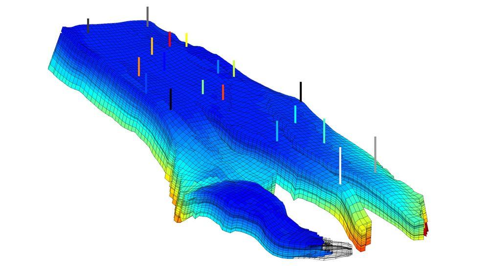Simulering av trykkfordeling i Nornefeltet utenfor Helgeland. For å simulere utvinning av hydrokarboner, deler forskerne reservoaret inn i celler, og beskriver hvordan oljen flytter seg fra celle til celle. Dataene til modellen er gjort tilgjengelige av Statoil og NTNU/IO-senteret.