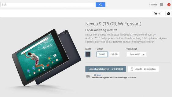Det er et utvalg Nexus-enheter til salgs i Google Play. Prisene er ikke markedets laveste.