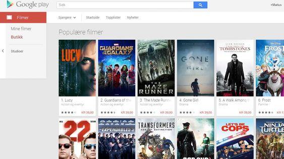 Du kan kjøpe eller leie film i Google Play, men det er ingen «spis så mye du vil»-løsning som for eksempel Netflix.