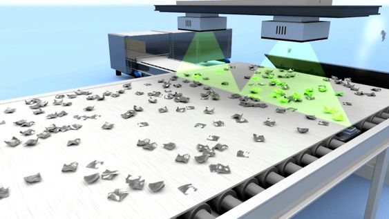 Tomra-systemet med røntgen identifiserer biter med legering og 400 luftdyser sørger for å fjerne dem fra den videre prosessen. Dermed sitter Hydro igjen med ren aluminium av høy kvalitet og høy verdi.