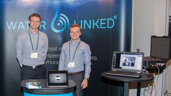 Water Linked har utviklet et system for høyhastighetkommunikasjon under vann. F.v: CEO Torgeir A. Trøite og CFO Torstein U. Skogseth.