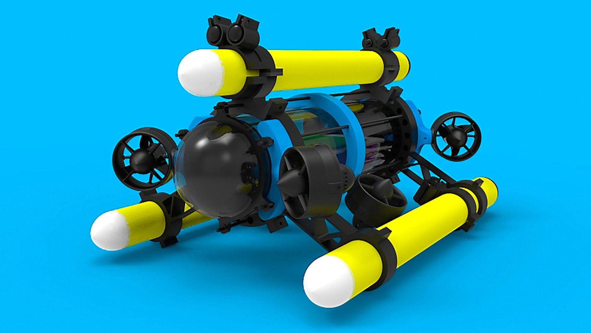 Denne trådløse undervannsdronen tilbyr live video opp til 100 meter fra basestasjonen.