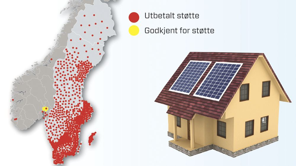 Sped start: Etter drøye fem måneder har 14 nordmenn fått utbetalt offentlig støtte til å installere solcelleanlegg på boligen. I Sverige, som har gitt støtten til solcelleanlegg siden 2009, har 2 240 boligeiere søkt og fått støtte. Solenergiforeningen mener det norske støttenivået er for lavt.