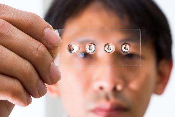 Foto: Lee1.jpgBildetekst: Flere forskergrupper har jobbet med å lage klistrelinser av det samme materialet. Her ser vi noen som er laget ved å la dråper henge og stivne. Forskeren i bakgrunnen er Steve Lee ved Australian National University. (Foto: Stuart Hay)