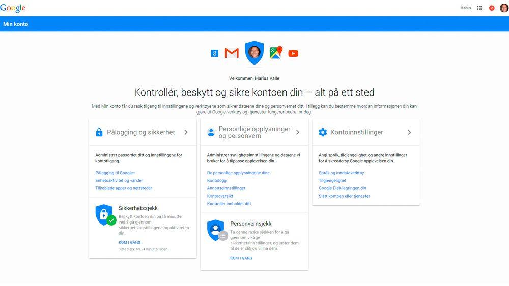 Google «Min Konto» samler dine innstillinger på ett sted.