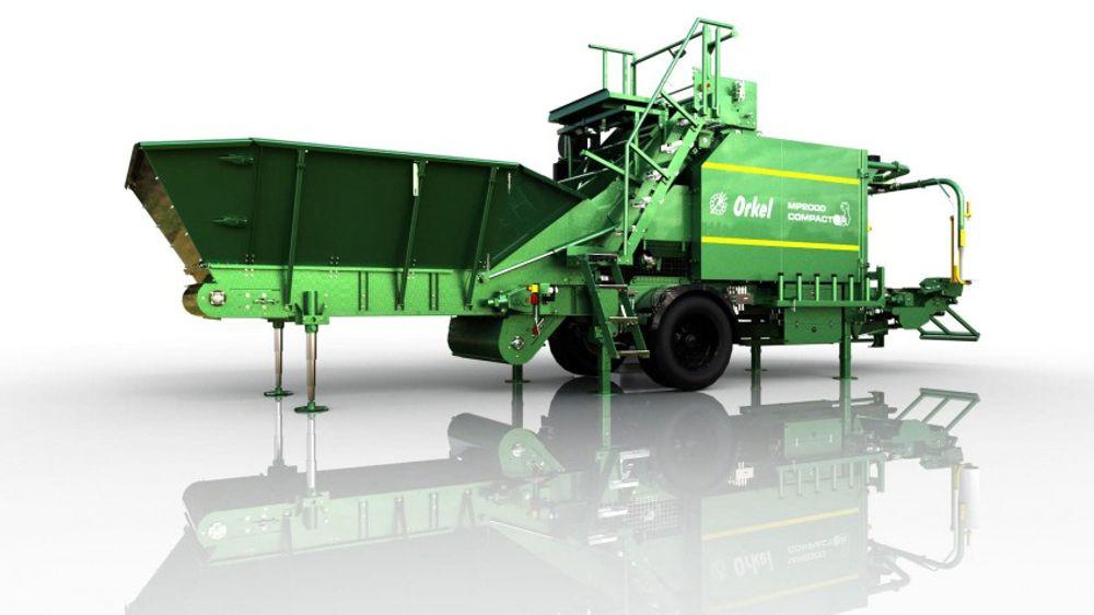 Bildetekst: Kompaktor- er maskinen som er utviklet av Orkel. Den har en unik evne til å presse og pakke ulike typer bulkmaterialer. Dette gir betydelige miljøgevinster og bedre ressursutnyttelser.