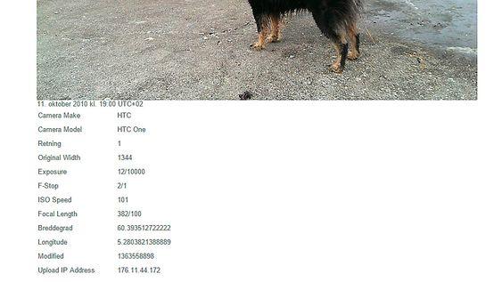Bildedata inkluderer GPS-posisjon dersom du ikke har deaktivert dette på mobilen din.