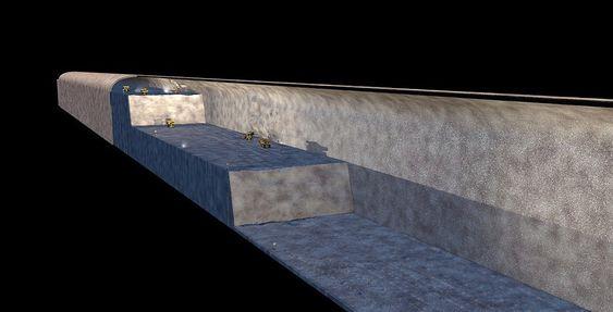 Illustrasjonen viser hvordan det vil bli jobbet med, og dimensjonene på skipstunnellen.
