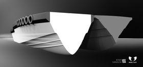 Gjennomskåret skrog viser at losbåten (t.v.) får et mye større volum enn det grå, tradisjonelle skroget.