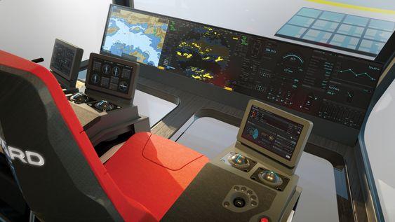 Integrert bro med liten skjerm i armlenet, der kapteinen også velger hva som skal vises på de andre skjermen, som står lavt plassert for å gi god utsikt. I aktercocpit med kapteinsplass og DP-operatør er det vindu i gulvet for å kunne se hva som skjer på dekk.