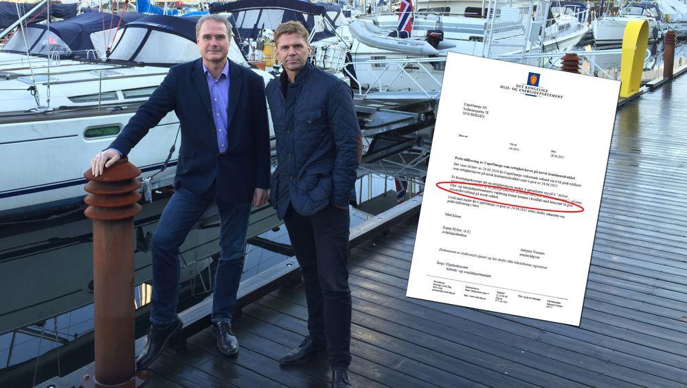 Robert Farestveit og Frode Losnedal er to av nøkkelpersonene i Cape Omega. Innfelt er brevet fra Olje- og energidepartementet der det går frem at søknaden deres er stilt i bero.