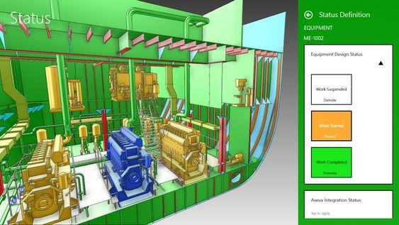 Skjermbilde fra visualiseringsverktøyet. Her kan man gå inn i detaljer og se status på designarbeidet, som er utført i DAK-programmet PDMS.