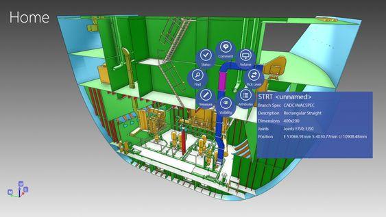En del av ventilasjonsanlegget er valgt. Vital informasjon kommer fram, og fra menyen gjør man nye valg og får opp enda mer informasjon.