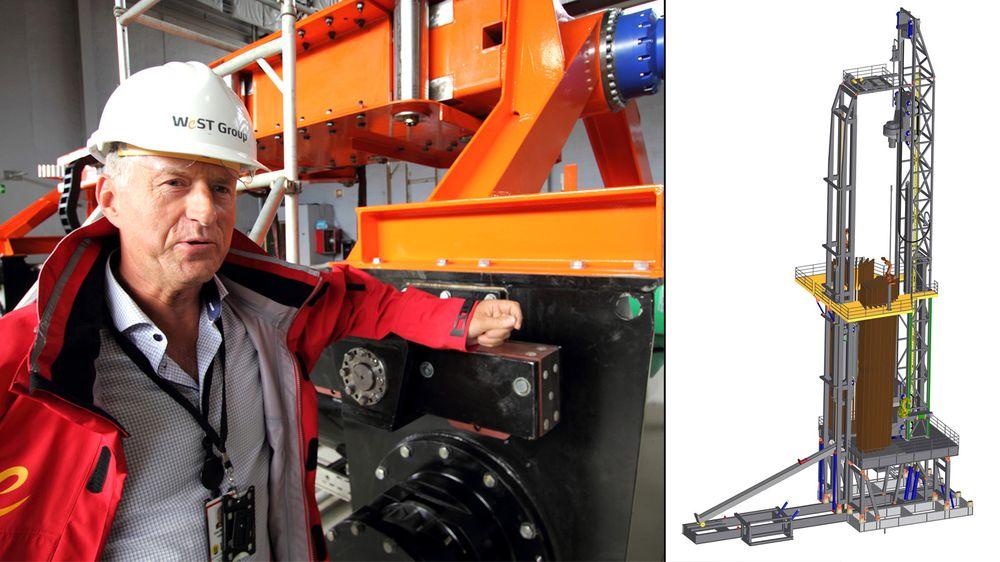 Gründer Odd B. Skjærseth i West Groups produksjonslokaler i Sandnes. Til høyre en modell av deres Continuous Motion Rig.