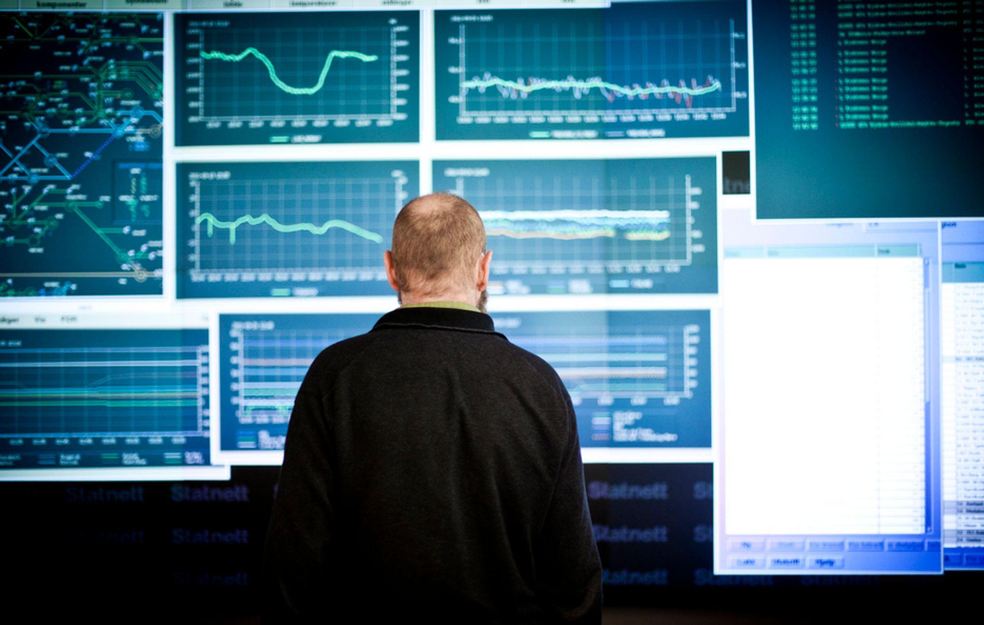 HJERTET AV KRAFTSYSTEMET: Går alt etter planen, kan Statnetts driftsoperatører se det fortløpende risikobildet i kraftnettet på storskjermen i den nye landssentralen i 2014. Da flytter Statnett fra Montebello til Nydalen i Oslo.