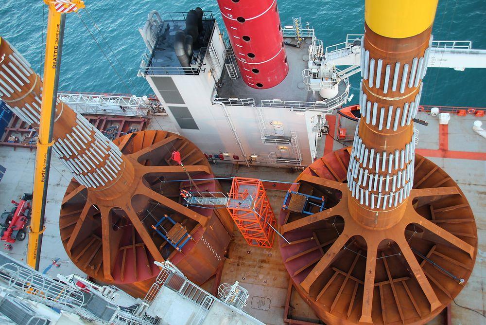 Neste generasjons vindmøllefundamenter:  To testfundamenter av denne typen ble satt ned i havbunnen og dratt opp igjen tilsammen 29 ganger i fjor høst, i havområdet Doggerbank.