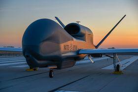 Northrop Grumman avduket Natos første Global Hawk på et arrangement i Palmdale, California 4. juni.