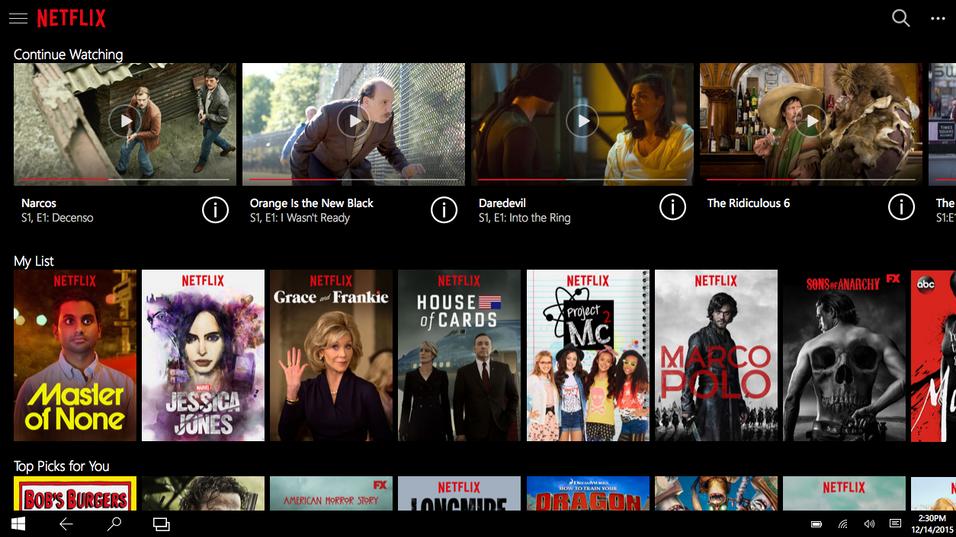 Slik ser den nye Netflix-appen til Windows 10 ut.