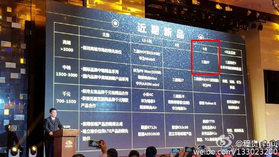 Dette bildet ble lagt ut av en Weibo-bruker som fotograferte China Mobiles langtidsplaner. Galaxy S7 skal dukke opp hos selskapet i mars.