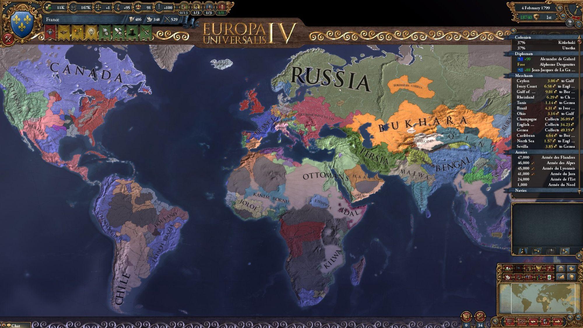 Slik ser verdenskartet ut nær slutten etter en veldig dynamisk kampanje.Blant annet ser vi at ødemarkene i Nord-Amerika er farget helt blått, istedenfor grått slik det ville vært tidligere.