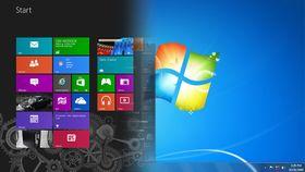 Overgangen mellom Windows 8 (til venstre) og Windows 7 (til høyre) var enorm. Derfor valgte mange brukere å aldri gå over til Windows 8 og Metro-grensesnittet.