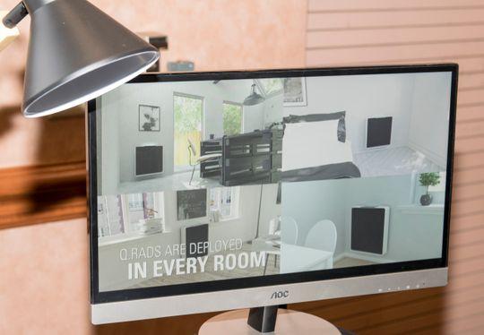 Slik presenterer Qarnot konseptet sitt. Varianter av ovnene har vært prøvd ut i private hjem siden 2014.