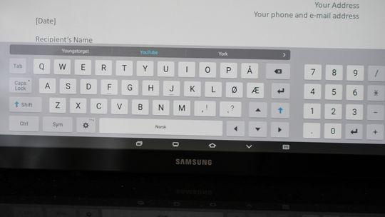 Slik ser skjermtastaturet på Galaxy View ut. Vi liker at det er stort og har egne talltaster.