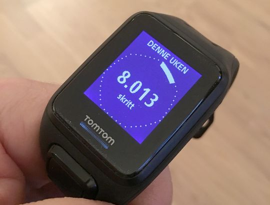 Blar du mot venstre med navigasjonstastene får du opp informasjon om aktivitetsnivået ditt i dag eller for siste sju dager.