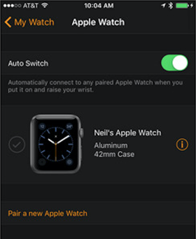 Slik skal den nye appen for Apple Watch-sammenkobling med iPhone/iPad se ut.
