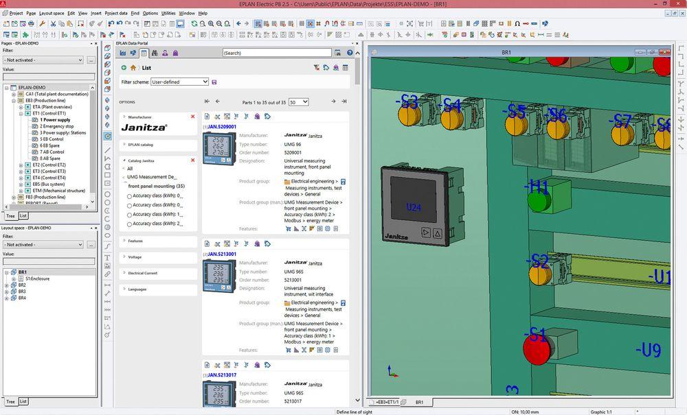 Skjermdump fra Eplan dataportal viser konfigurasjon for digitale tavlemålere fra Janitza.
