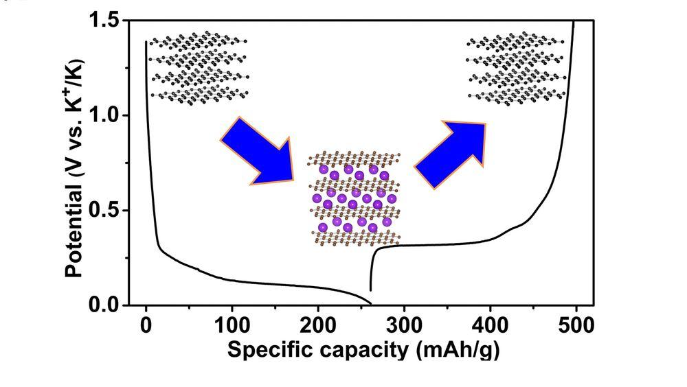 Grafen illustrerer den elektriske kapasiteten til det nylig utviklete kalium-ione batteriet laget ved Oregon State University.