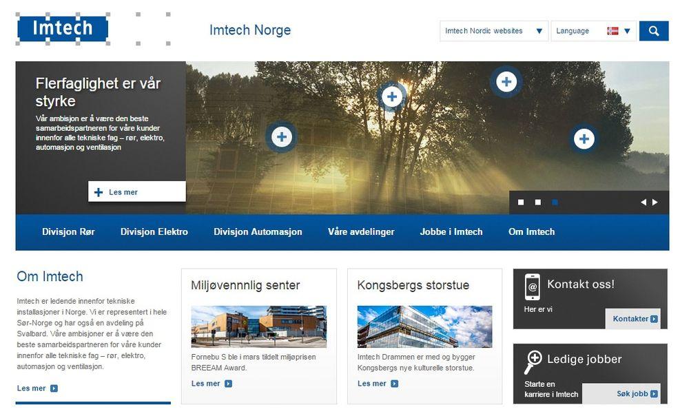 Skjermdump av nettsiden til Imtech Norge, som nå er eid av Triton.