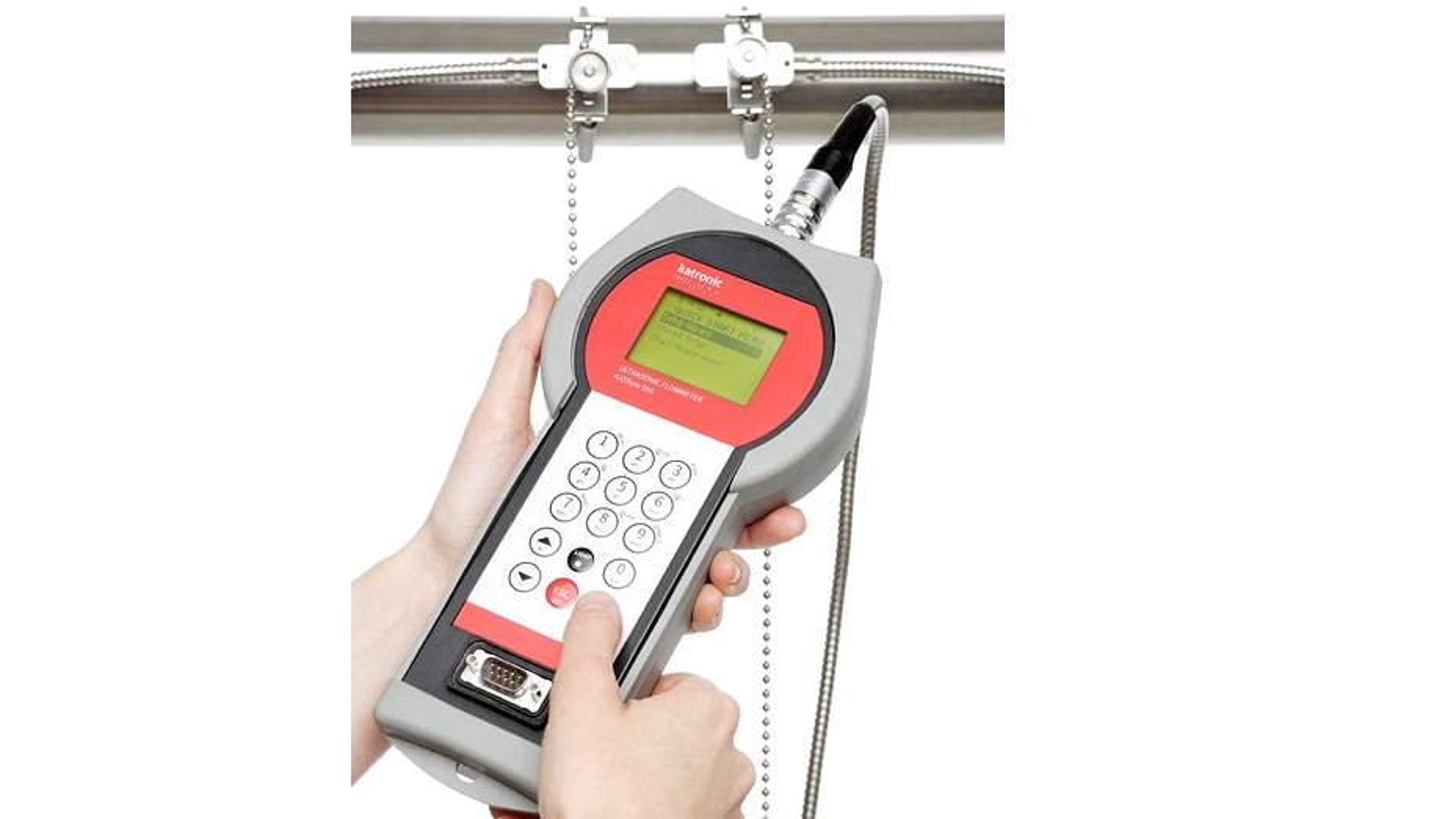 Katronic clamp-on flowmeter som nå distribueres av Håland Instrumentering.