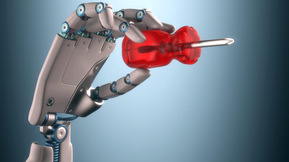 Denne robotiserte hånden symboliserer fremtidens industri. Digitalisering og robotisering vil gi industrien mulighet til å produsere både bedre og mer kostnadseffektivt.