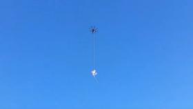 Slik ser det ut etter at dronen er blitt fanget.