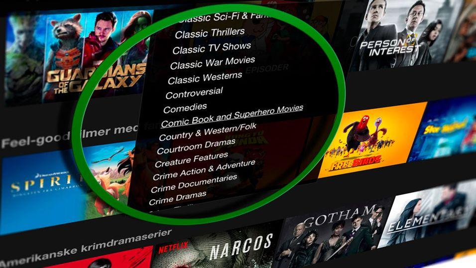 Netflix har drøssevis av underkategorier de ikke vil at du skal vite om.