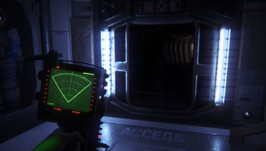 Lydbildet i Alien: Isolation forsterker den skumle stemningen. Et lite utslag på bevegelsessensoren går hardt ut over nervene.