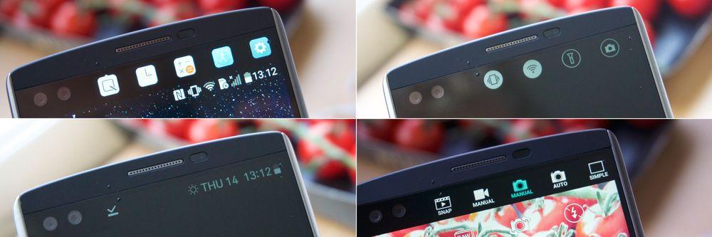 V10s lille ekstraskjerm har mange bruksområder. Når skjermen er på kan du blant annet legge snarveier til mye brukte apper der (venstre, oppe), og åpner du kameraet legger flere innstillinger som ellers ville dekket skjermen seg der. Når skjermen er av lyser dessuten klokka, været og batteriet opp hele tiden, og sveiper du til høyre på skjermen får du tilgang til viktige funksjoner – alt uten å skru på telefonen!