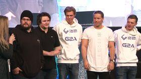 London Conspiracy blir intervjuet etter seieren i Telenorligaen. Fra venstre: Pål «Polly» Kammen, Bjørn «Skurk» Maaren, Kristoffer «Mystic» Michelsen, Markus «maak» Karlsen og Fredrik «slap» Junbrant.