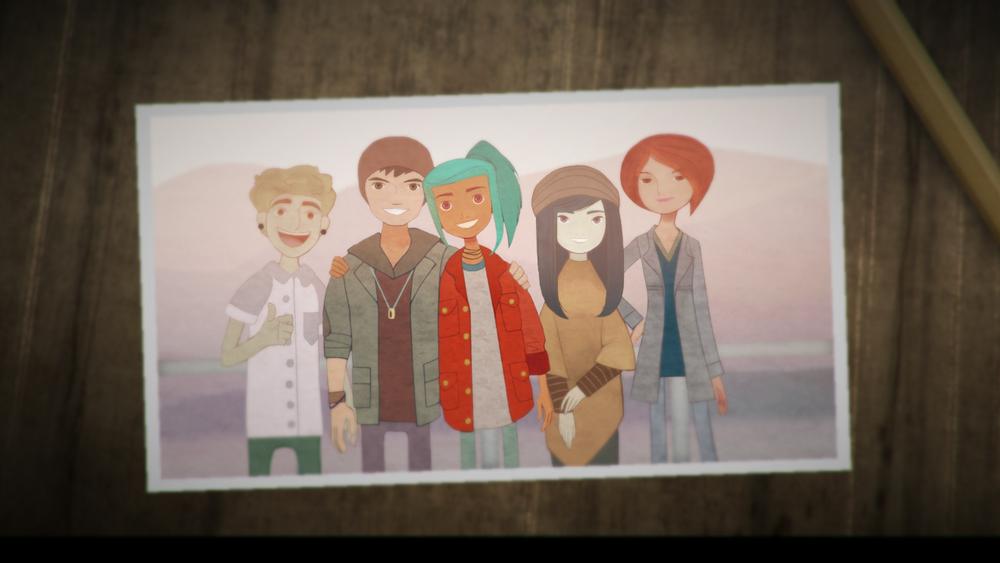 Heile femkløveret: Ren, Jonas, Alex, Nona og Clarissa.
